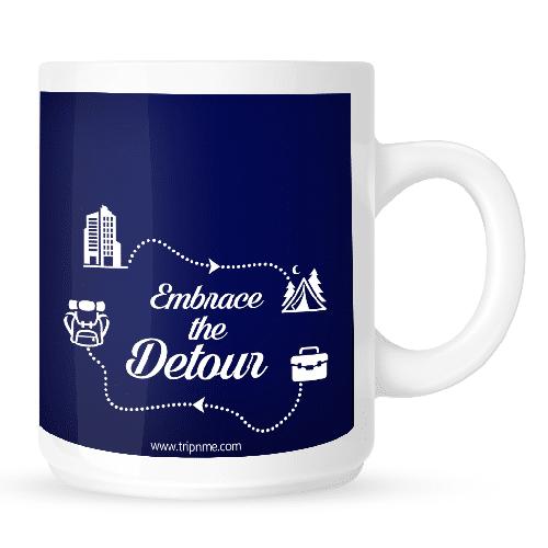 Mug with Embrace-the-detour-blue