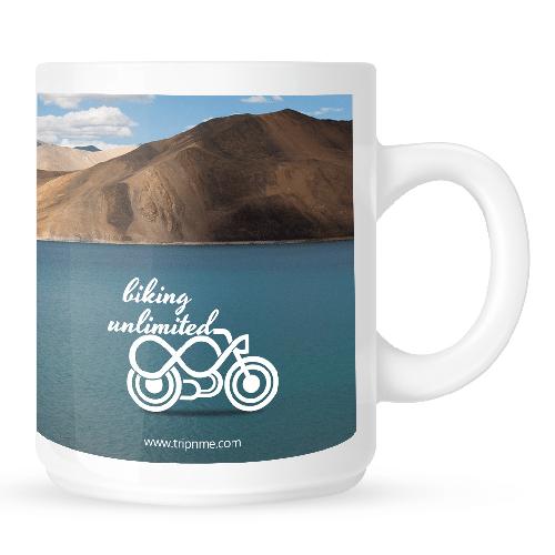 Mug with biking unlimited - blue lake