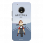 Wrooman power by showing girl on bike_Moto G5 Plus blue Mobile Case