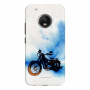 Bike Canvas_Moto G5 Plus blue and white shade Mobile Case