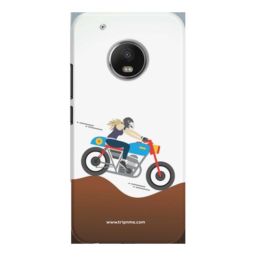 female rider_Moto G5 Plus white Mobile Case