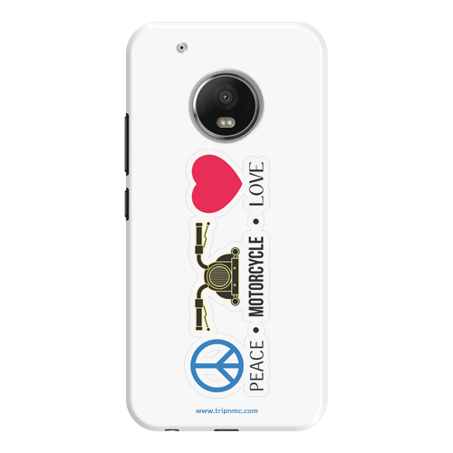 Peace-motorcycle-love_Moto G5 Plus white Mobile Case