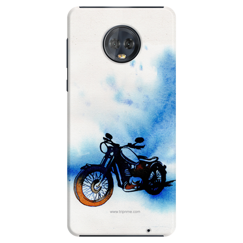 Biker Canvas_Moto G6 Plus blue and white shade Mobile Case