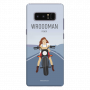 Wrooman Power showing girl on bike_Samsung Note8 blue Mobile Case