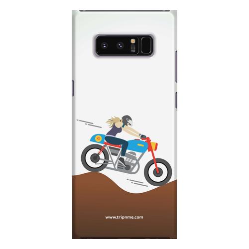 Female rider_Samsung Note8 white Mobile Case