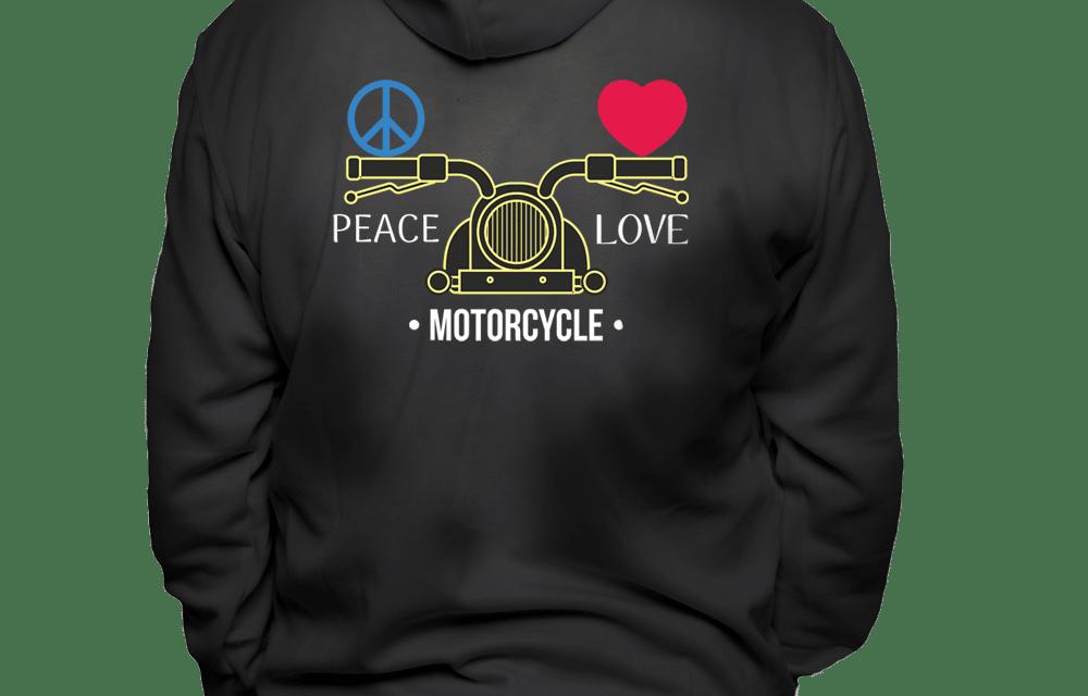 male_peace_love_motorcycle_black_hoodie_back