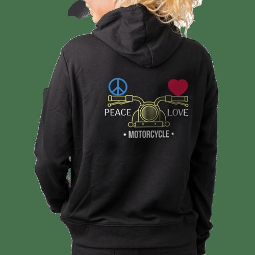 female_peace_love_motorcycle_black_hoodie_back