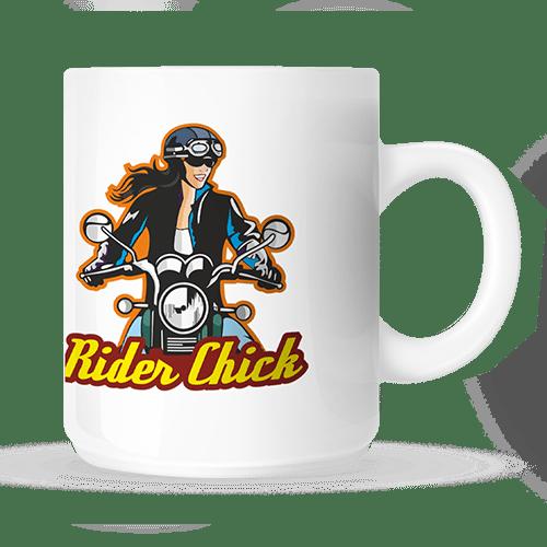 coffee mug with rider chick