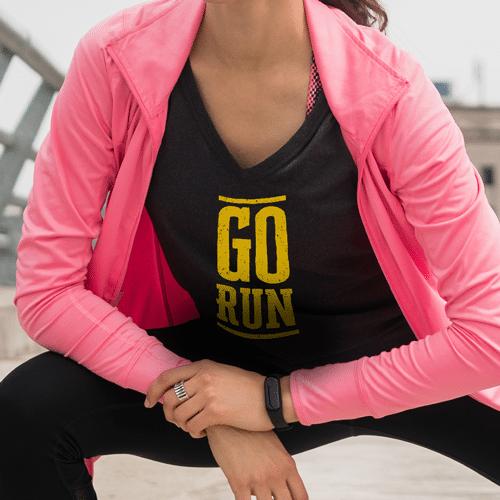 go run female premium black tshirt