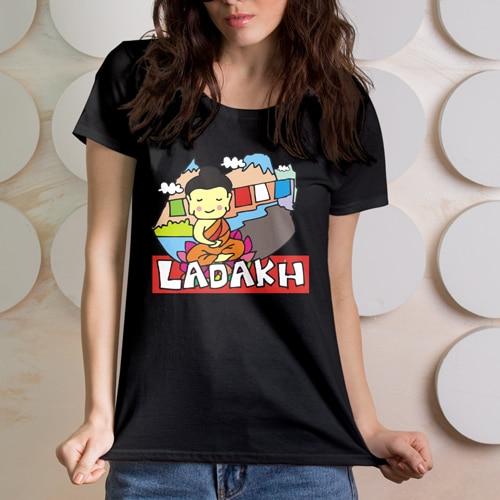 female premium tshirt black ladakh