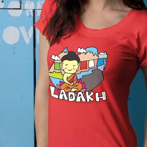 Premium red tshirt ladakh
