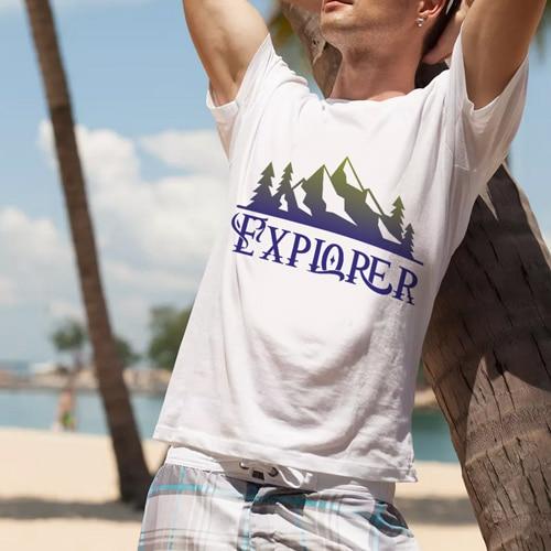 male premium tshirt white explorer