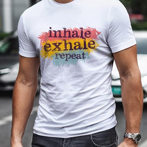 male white inhale exhale premium trshirt