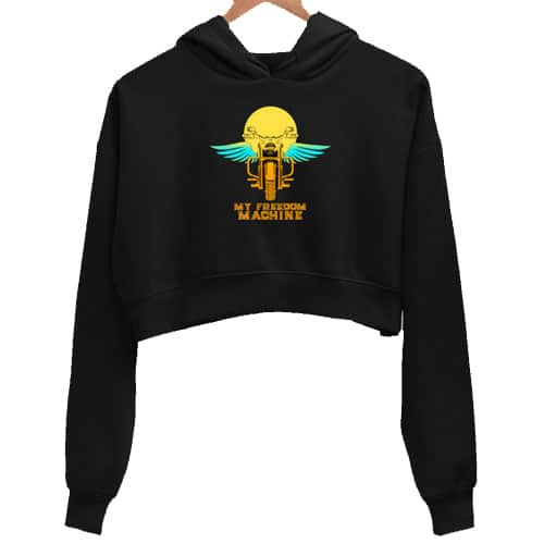 freedom machine black crop hoodie