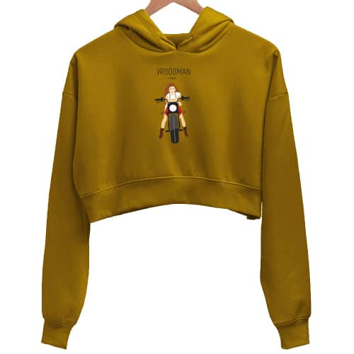 wrooman mustard crop hoodie