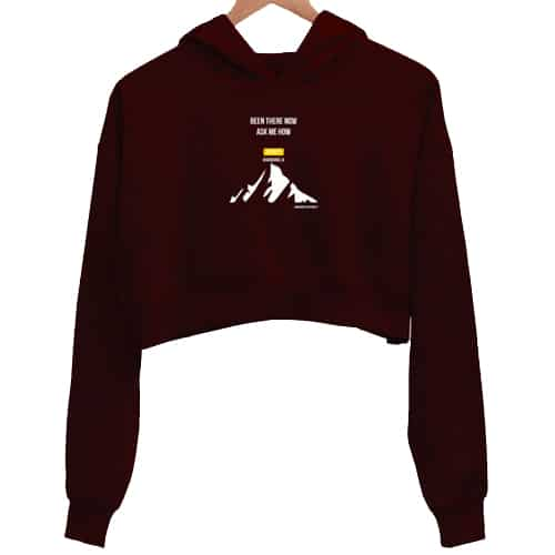 been there now maroon crop hoodie