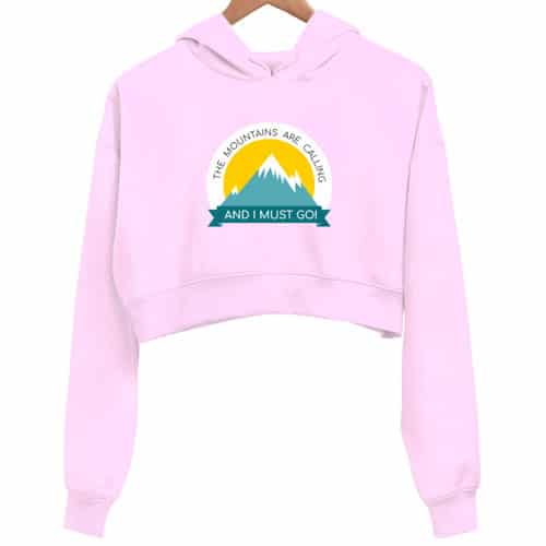 mountains calling pink crop hoodie