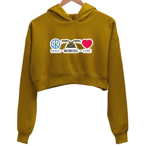 peace mustard crop hoodie