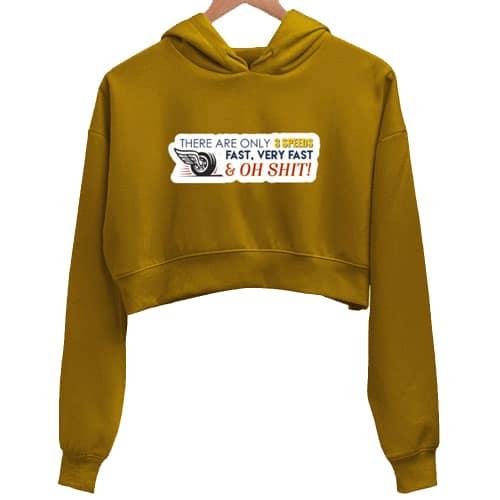 speed mustard crop hoodie