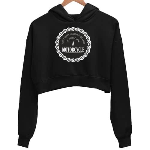 therapist black crop hoodie