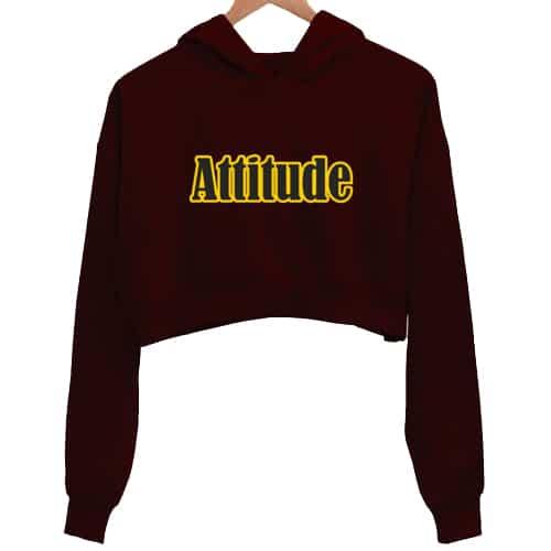 attitude maroon crop hoodie