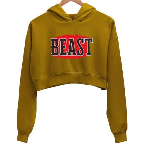 beast mustard crop hoodie