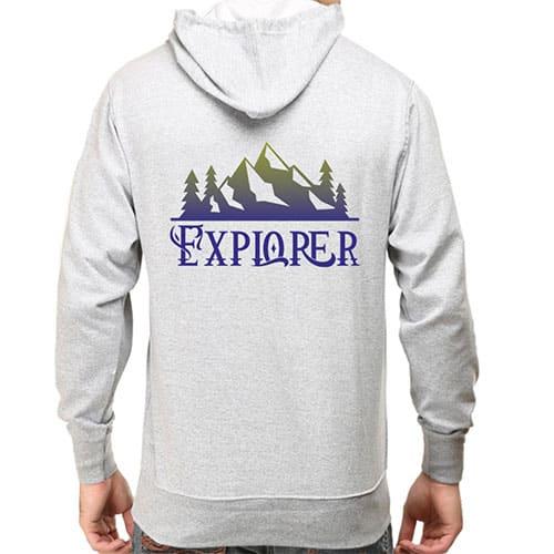 grey explorer male hoodie