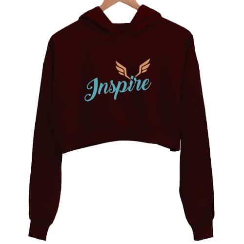 inspire 1 maroon crop hoodies