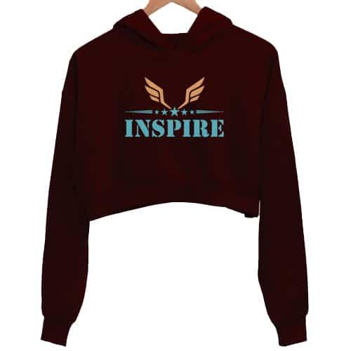 inspire 2 - maroon crop hoodie