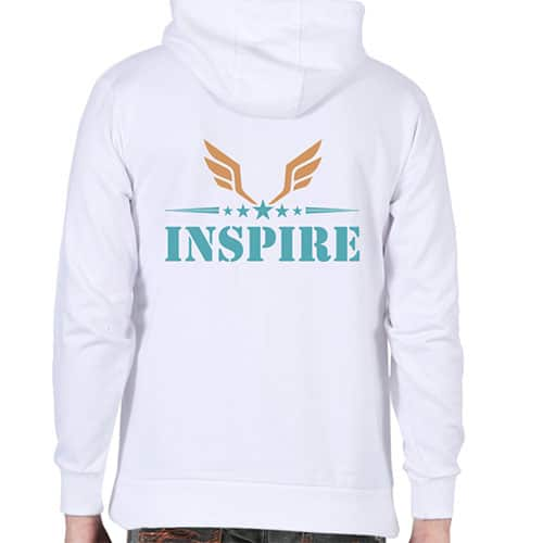 inspire white male hoodie