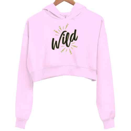 wild black - pink crop hoodie