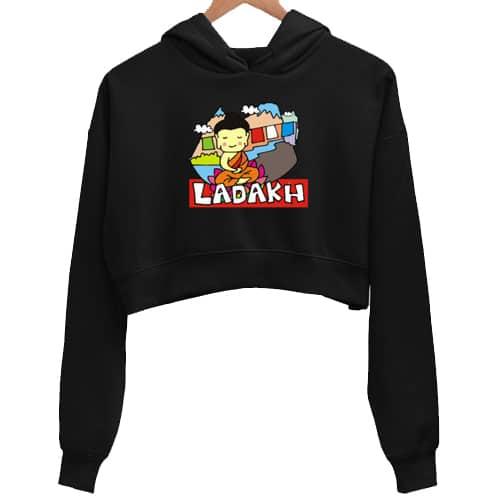 ladakh black crop hoodie