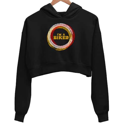 i am biker black crop hoodie
