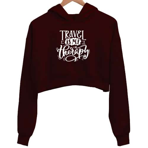 travel is my therapy maroon crop hoodie