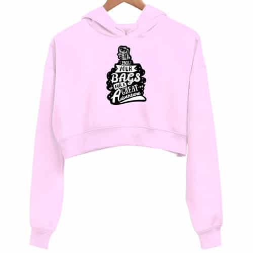 pack your bags - pink crop hoodie