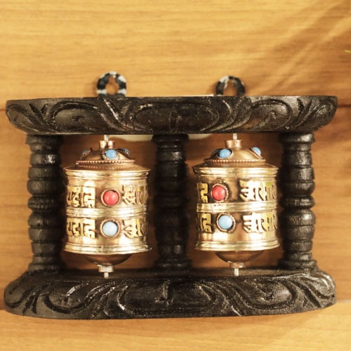 Buddhist Wall Mounting with two Prayer Wheel