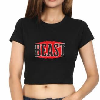 crop top beast - black