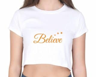 crop top believe - white