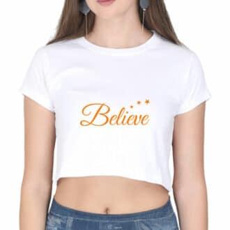 crop top believe - white