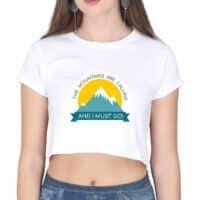 crop top mountains calling - white