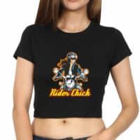 crop top rider chick - black