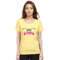 bikerni - yellow female premium tshirt