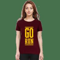 go run yellow - maroon premium tshirt female
