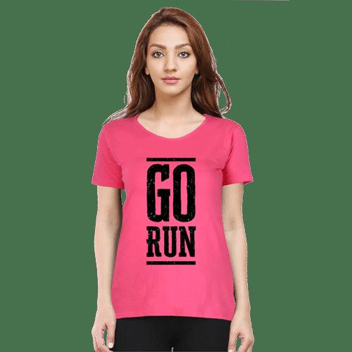 go run- dark pink premium tshirt
