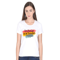 inhale exhale - female white premium tshirt