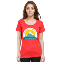 red- female mountain calling premium tshirt