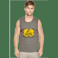 charcoal melange- mens sleeveless tshirt- drive safe