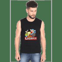 ladakh black mens sleeveless tshirt