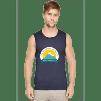 navy-mountain calling-sleeveless tshirt