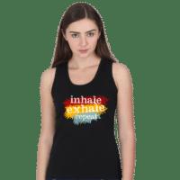 black inhale exhale tank top
